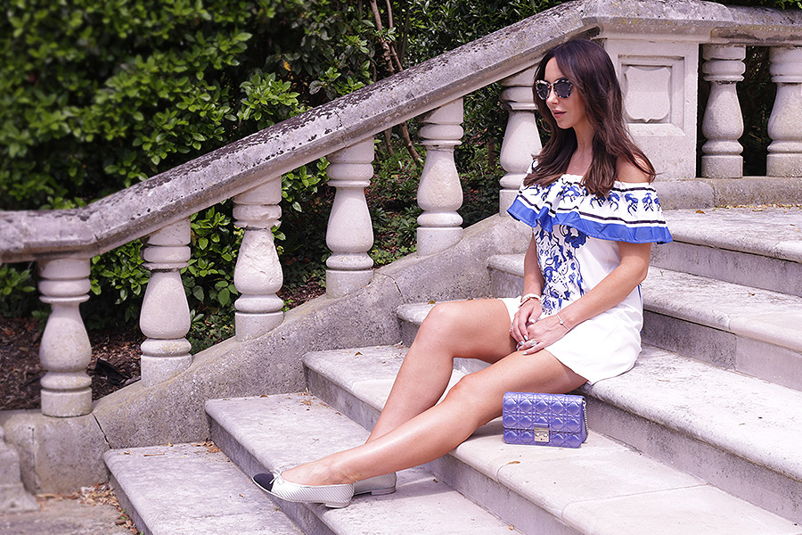 Dolce & Gabbana style summer dress off-shoulder Hydrangea