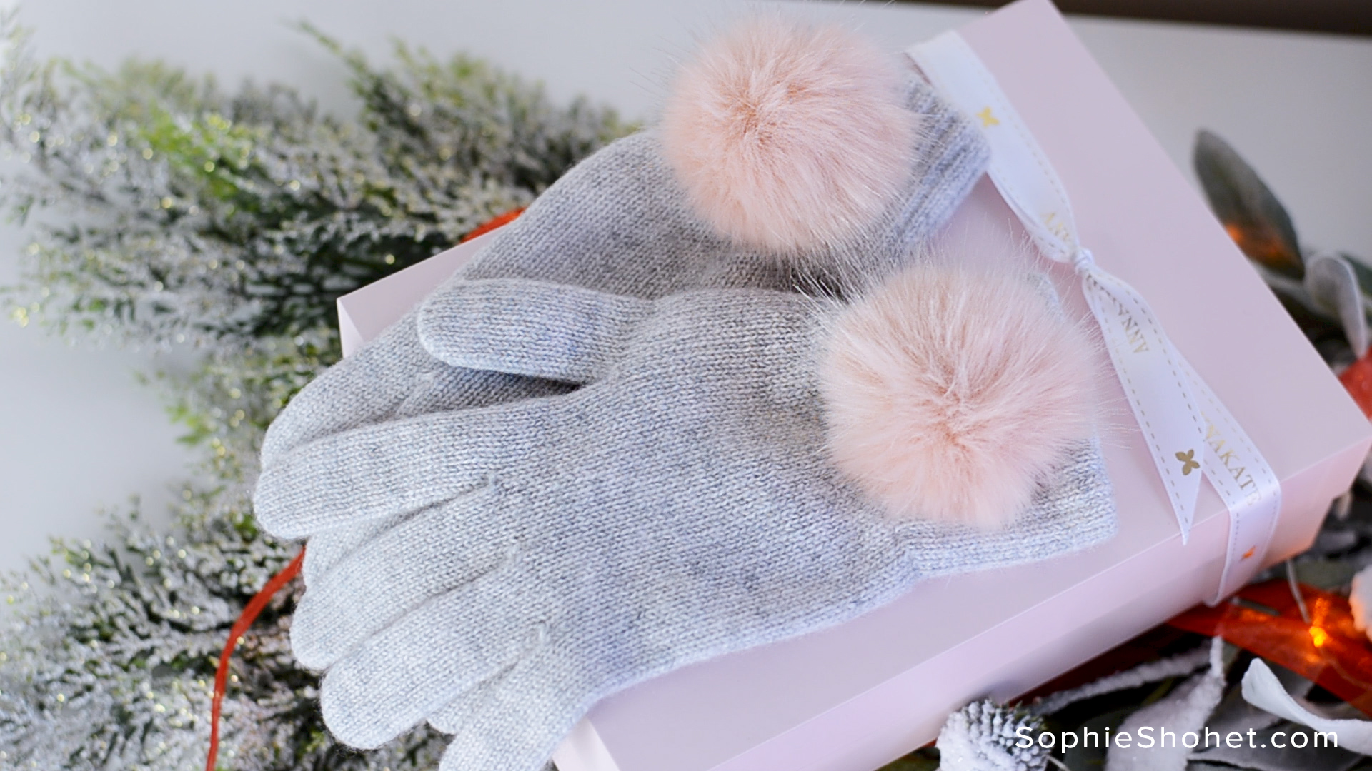 Annakate Faux Fur Pom Pom Cashmere Gloves