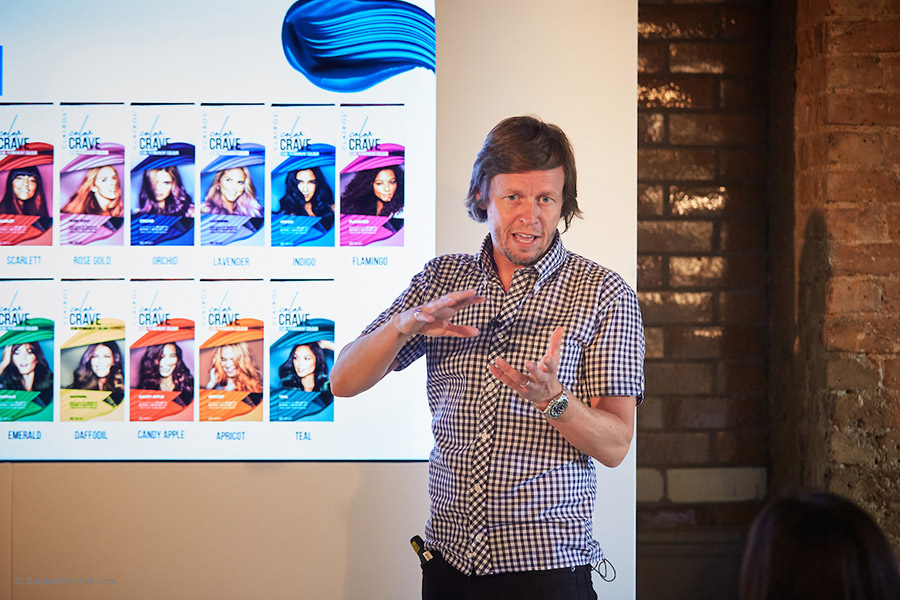 Hair stylist Michael Douglas demonstrates the product live