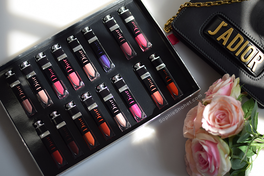 Dior Addict Lacquer Plump Lipsticks with J'Adior Handbag and beret