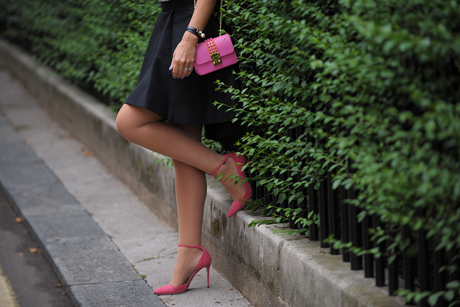 Summer trends 2017 Pink heels with bag and black formal skirt