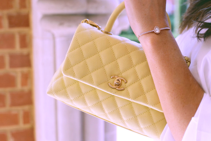 Yellow Chanel Coco Handle Flap Bag