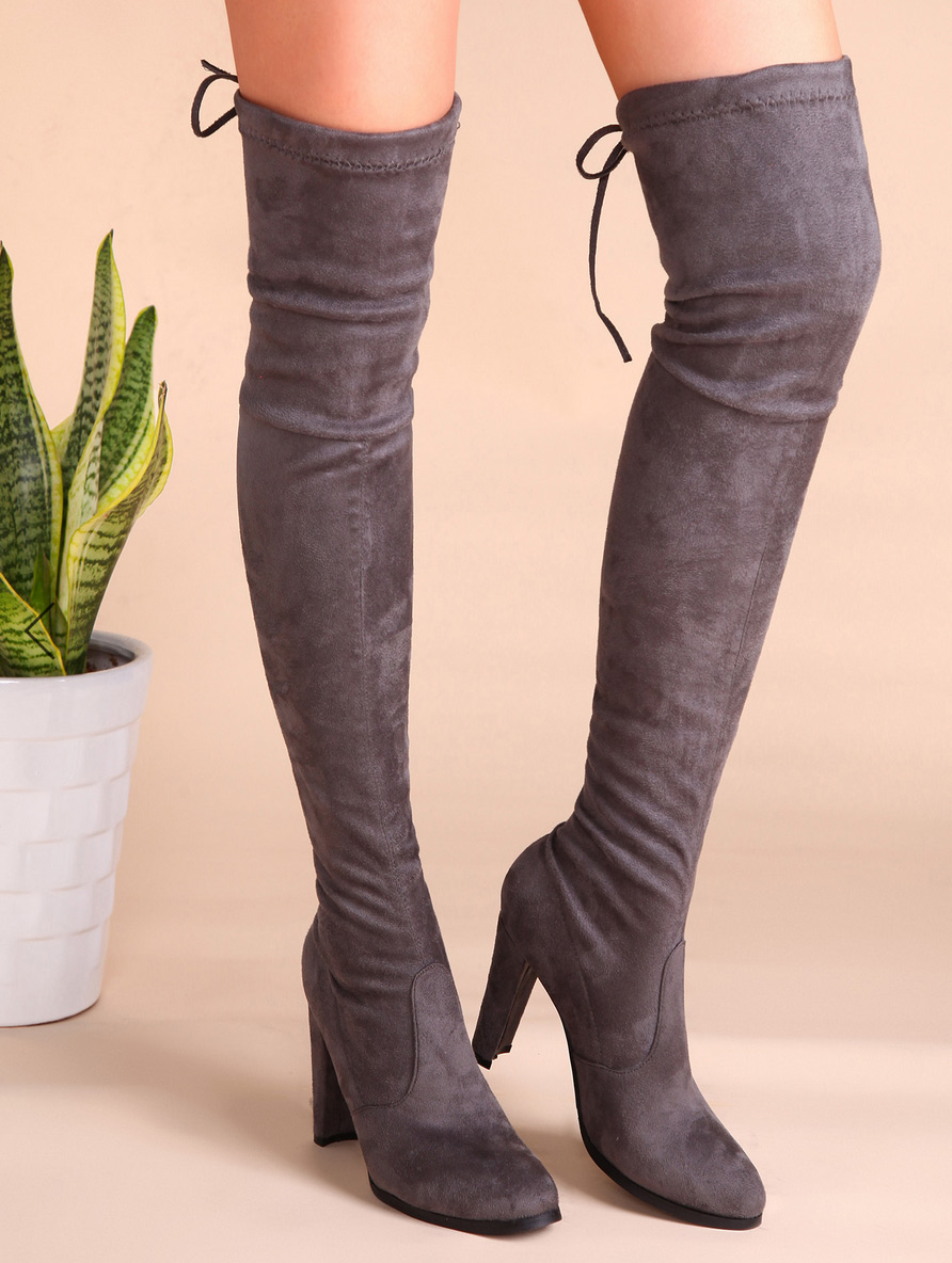 Stuart Weitzman Taupe Grey Thigh High Boot Dupe SHEIN
