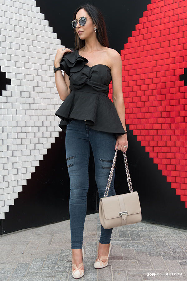 Black Off Shoulder Ruffle Blouse