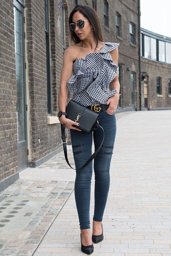 StyleKeepers Gingham Blouse with ruffles