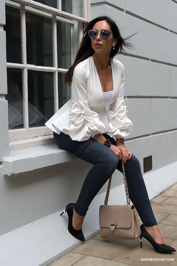 StyleKeepers white peplum blouse